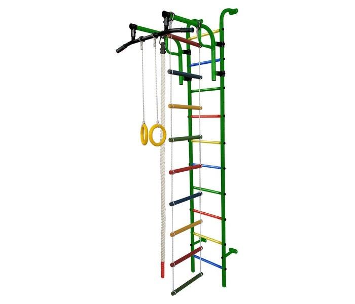 Формула Здоровья Аистёнок-1А ПлюсАистёнок-1А ПлюсАистёнок-1А Плюс - компактный ДСК от компании Формула здоровья. Представляет собой шведскую стенку с базовым навесным оборудованием и цельным турником с широким хватом. Комплекс занимает незначительное место в помещении, но при этом оборудован всем необходимым для полноценного физического развития как ребенка, так и взрослого. При желании вы можете дополнить ДСК дополнительным спортивным инвентарем.  Особенности: конструкция повышенной прочности изготовлен из металлических труб, покрытых красителями крепится к стене шведская стенка цельный турник с широким хватом и обрезиненными ручками регулировка высоты расположения турника веревочная лестница гимнастические кольца канат в комплекте обрезиненные перекладины (предотвращают скольжение на лестнице) поставляется в разобранном виде и требует дополнительной сборки  Характеристики: Высота: 2,30 м  Ширина комплекса: 0,41 м  Занимаемая площадь: 0,77 х 0,80 х 2,30 м  Ширина турника: 0,80 м Тип турника: подвижный, регулируемый по высоте Вынос турника: 0,77 м  Диаметр трубы: 32 мм Толщина металла: 2 мм Ширина ступени: 0,34 м  Диаметр ступени: 27 мм Шаг ступени: 0,22 м Тип ступени: металл с ПВХ покрытием  Длина кронштейна: 133 мм Допустимая нагрузка: 100 кг Допустимая нагрузка на турник: 100 кг Допустимая нагрузка на навесное оборудование: 80 кг  Комплектация: колца, канат, веревочная лестница Упаковка: картонная коробка  Настоятельно рекомендуем для большей безопасности вашего ребенка приобретать в комплекте с детским спортивным комплексом мат. Маты помогут защитить ребенка от ссадин и ушибов.<br>
