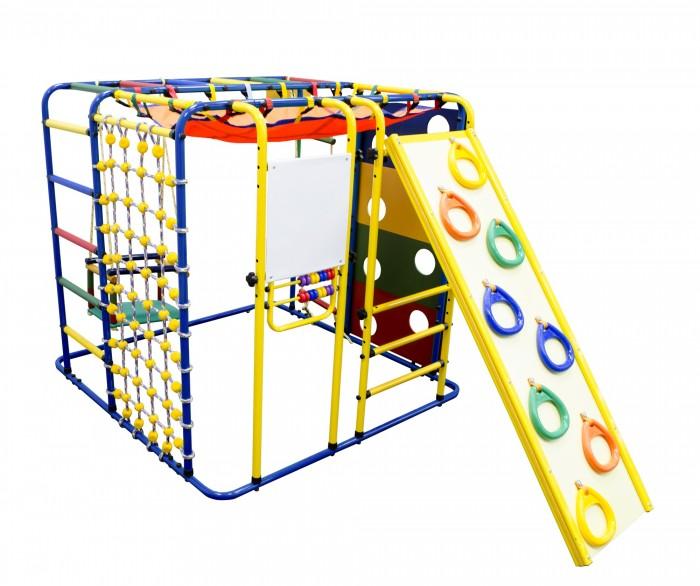 Формула Здоровья Кубик У ПлюсКубик У ПлюсКубик У Плюс - многофункциональный ДСК Формула здоровья для самых маленьких деток. Имеет компактные размеры, что позволяет устанавливать его не только на улице, но и в помещении. Комплекс снабжен всем необходимым для раннего физического развития и веселого времяпрепровождения вашего малыша. Ежедневные занятия на этом ДСК разовьют ловкость, цепкость и гибкость, а также улучшат вестибулярный аппарат ребенка.  Особенности: Способ установки: устанавливается на ровную поверхность Высота: 1,15 м  Длина комплекса: 1,21 м Длина по горке: 2,42 м Длина по скалодрому с кольцами: 2.03 м Ширина комплекса: 1,21 м Ширина ската горки скалодрома с кольцами: 0,40 м Длина ската горки скалодрома с кольцами: 1,31 м Занимаемая площадь: 1,21 х 1,21 х 1,15 м  Диаметр трубы: 25 мм Толщина металла: 1,5 мм Ширина ступени: 0,40 м  Диаметр ступени: 27 мм Тип ступени: металл с ПВХ покрытием  Допустимая нагрузка: 100 кг Допустимая нагрузка на навесное оборудование: 80 кг  Комплектация: тарзанка, веревочная лестница, качели, сетка для лазания, панель с отверстиями, горка - скалодром с кольцами, баскетбольное кольцо, сетка-гамак, мольберт со счетами Упаковка: картонная коробка<br>