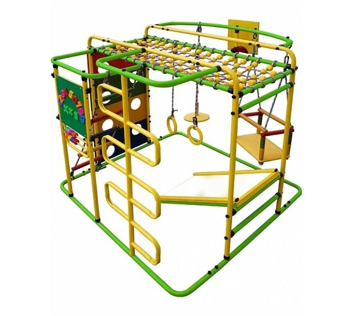 Формула Здоровья Мурзилка SМурзилка SМурзилка S - многофункциональный ДСК от Формулы здоровья, предназначенный для раннего физического развития малышей в возрасте от полутора лет. Конструкция отличается компактными размерами, но при этом снабжена расширенным инвентарем, включающим не только сугубо спортивные снаряды, но и игровые элементы (например, мольберт и качели). Благодаря этому комплекс не только будет способствовать гармоничному физическому развитию вашего ребенка, но и поможет ему развлечься.  Особенности: Способ установки: устанавливается на ровную поверхность Высота: 1,15 м  Длина комплекса: 1,40 м Длина по горке: 1,82 м Ширина комплекса: 1,21 м Ширина ската горки: 0,40 м Длина ската горки: 0,70 м Занимаемая площадь: 1,40 х 1,21 х 1,15 м  Диаметр трубы: 25 мм Толщина металла: 1,5 мм Ширина ступени: 0,40 м  Диаметр ступени: 27 мм Тип ступени: металл  Допустимая нагрузка: 100 кг Допустимая нагрузка на турник: 100 кг Допустимая нагрузка на навесное оборудование: 80 кг   Комплектация: тарзанка, веревочная лестница, качели, сетка для лазания, панель с отверстиями, горка, баскетбольное кольцо, мольберт со счетами, гимнастичесие кольца Упаковка: картонная коробка<br>