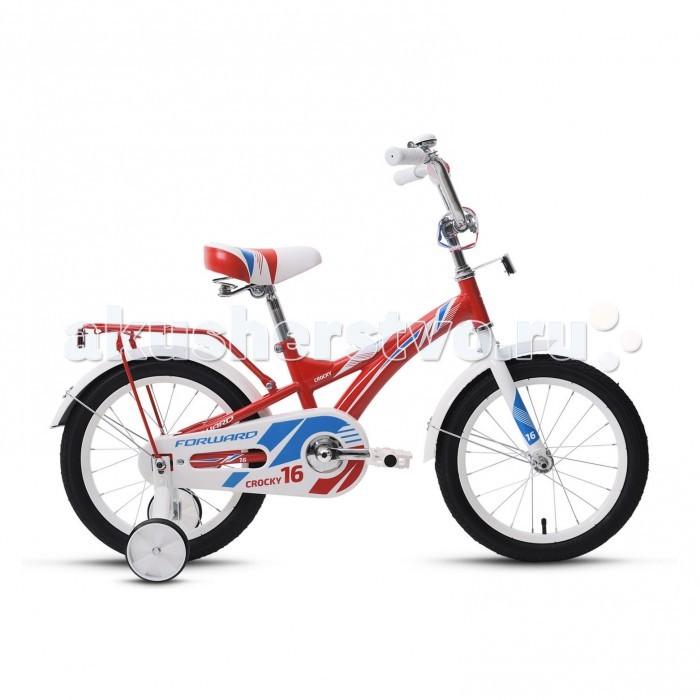 Велосипед двухколесный Forward Crocky 16 (2018)Crocky 16 (2018)Велосипед двухколесный Forward Crocky 16 (2018) обеспечит комфортную посадку и приятное катание. Велосипед разработан для детей ростом от 100 см.   Рама и вилка изготовлены из высокопрочной стали Hi-ten, установлены ножные педальные тормоза, они отличаются наибольшей простотой в использовании и надежностью.  Полная защита цепи, мягкие накладки на руле, звонок - всё это сделано для безопасного катания Вашего ребёнка.   Боковые поддерживающие колёсики помогут научится удерживать равновесие.   Особенности: Рама: Hi-Ten Материал рамы: Сталь Амортизация: Жесткий Тормоз: Ножной педальный Диаметр колёс: 16 Вилка Жесткая, стальная Рулевая колонка: Резьбовая с ограничителем угла поворота Количество скоростей: 1 Вынос: Резьбовой стальной хромированный Руль: Стальной, комфорт Грипсы: Детские Передняя втулка: Стальные хромированные Задняя втулка: Стальные хромированные Каретка: Golden Swallow, стальная Система: Cтальная хромированная Цепь: KMC C410 Педали: Пластик Задний: тормоз Ножной Обода: Стальные Передняя покрышка: Forward, 16x2,125 (30tpi) Задняя покрышка: Forward, 16x2,125 (30tpi) Комплектация: Багажник, Звонок, Крылья, Боковые колеса.<br>
