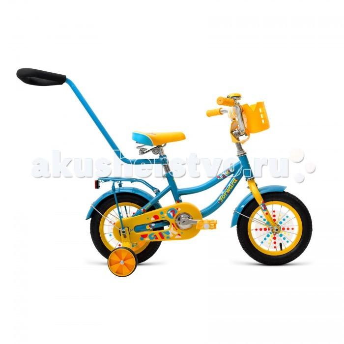 Велосипед двухколесный Forward Funky 12 (2018)Funky 12 (2018)Велосипед двухколесный Forward Funky 12 (2018) сделан на прочной стальной раме, имеет защиту цепи, а также регулируемые по высоте сиденье и руль.   Велосипед оснащен дополнительными боковыми колесами, которые помогают удерживать равновесие при обучении катанию на велосипеде.   Велосипед оснащен удобной, вместительной корзинкой для игрушек и вещей.   Подходит для комфортного катания по паркам и городским улицам. Родительская ручка в комплекте.   Особенности: Рама: Hi-Ten Материал рамы: Сталь Амортизация: Жесткий Тормоз: Ножной педальный Диаметр: колёс 12 Вилка: Жесткая, стальная Количество скоростей: 1 Грипсы: Детские Педали: Пластик Задний тормоз: Ножной.<br>