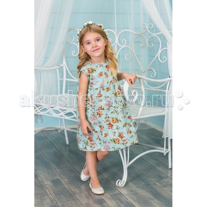 Детские платья и сарафаны Frizzzy Платье Цветы на голубом Воланами