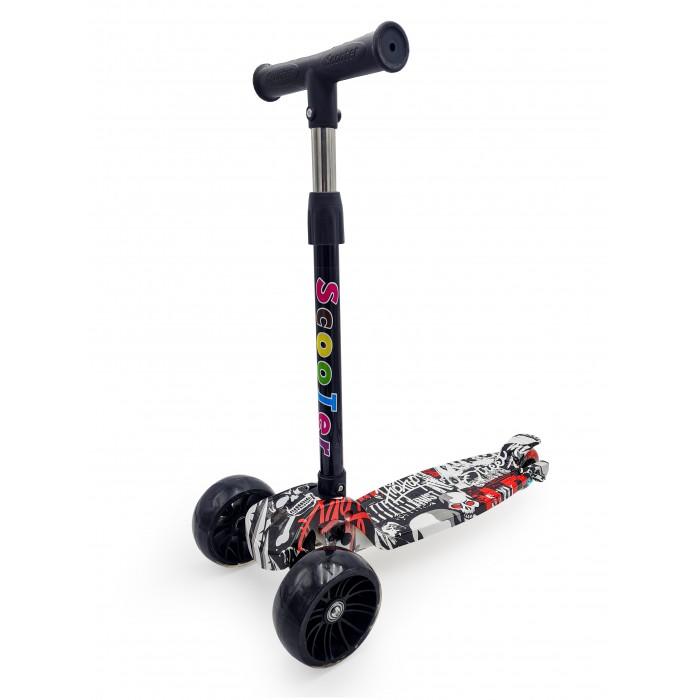 Трехколесные самокаты Funky Toys с регулируемой ручкой свет 72 см S+S широкие колеса
