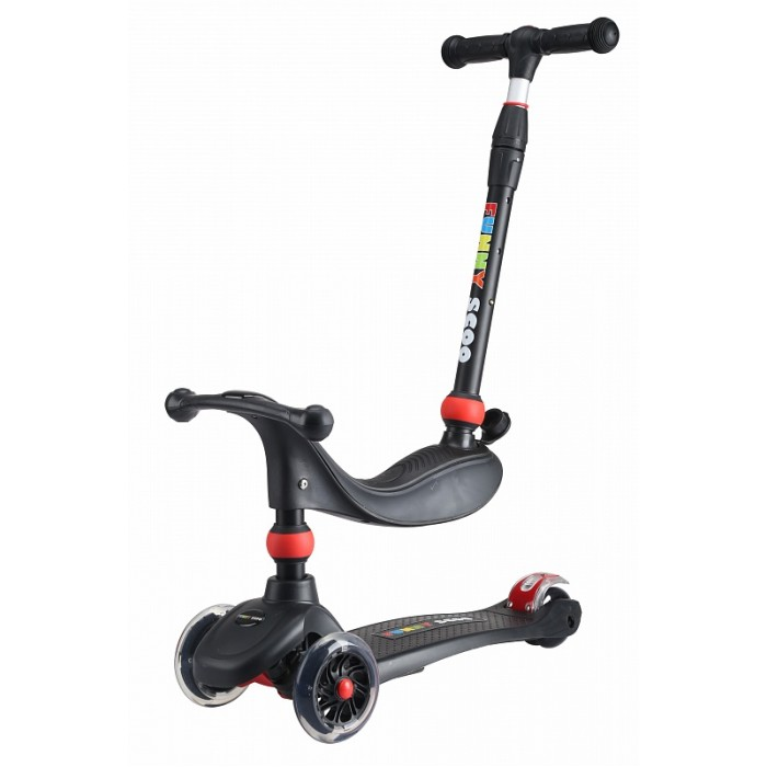 Детский транспорт , Трехколесные самокаты Funny Scoo беговел MS-936 Mix Light со светящимися колесами арт: 485626 -  Трехколесные самокаты