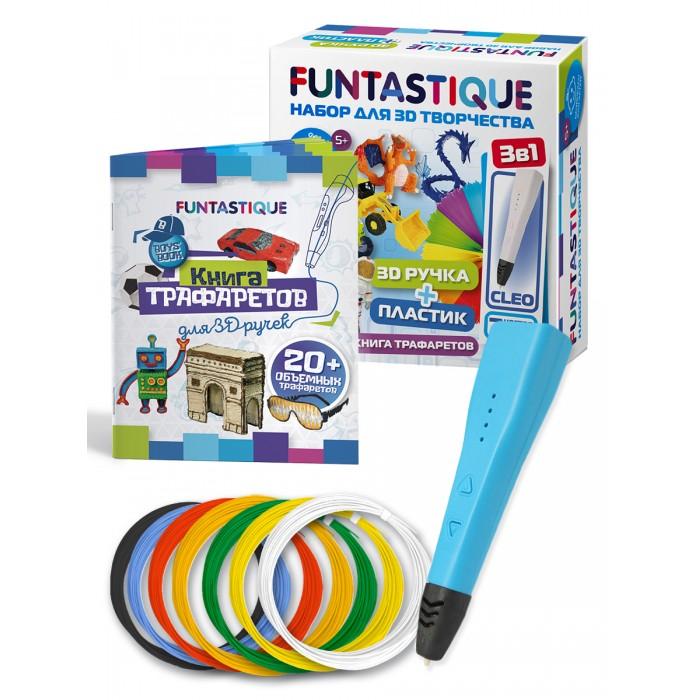 Купить Наборы для творчества, Funtastique Набор для 3D творчества 3 в 1: ручка Cleo, книга трафаретов, PLA-пластик 7 цветов