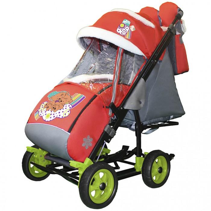 Купить Санки-коляски, Санки-коляска Galaxy Snow City-3-1 Два медведя на облаке на больших колёсах