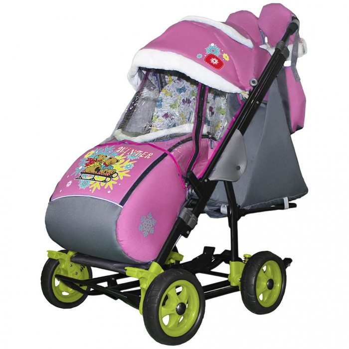 Купить Санки-коляски, Санки-коляска Galaxy Snow City-3-1 Два медведя на санях на больших колёсах