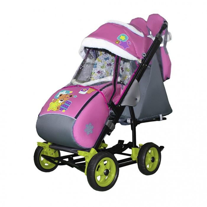 Купить Санки-коляски, Санки-коляска Galaxy Snow City-3-1 Мишка со звездой на больших колёсах