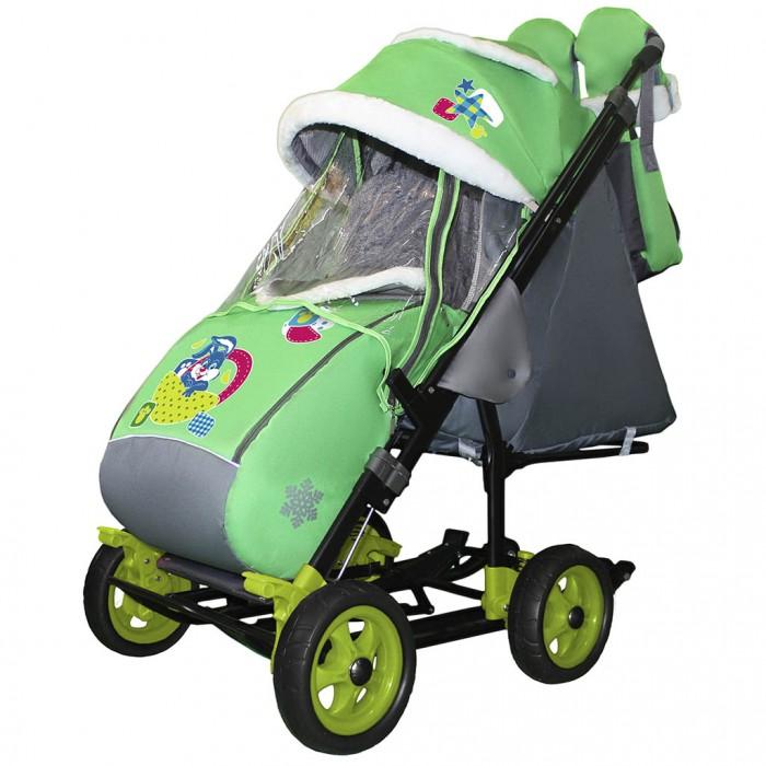 Санки-коляска Galaxy Snow City-3-1 Зайка на больших колёсах