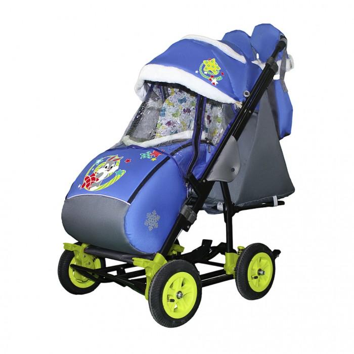 Санки-коляска Galaxy Snow City-3-2 Зайка на больших надувных колёсах