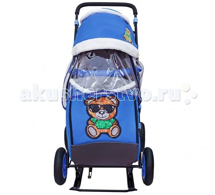 Купить Санки-коляски, Санки-коляска Galaxy Snow City-1-1 Зеленый Мишка колеса надувные