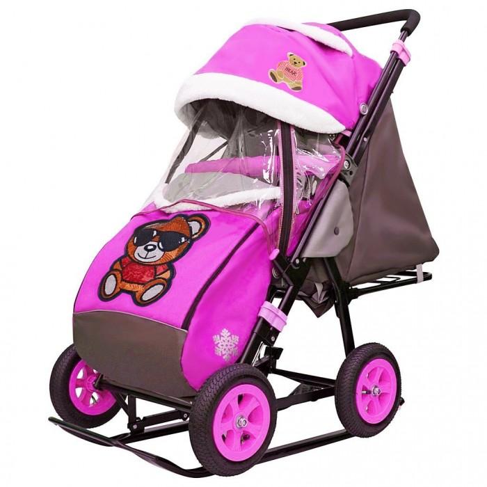 Санки-коляска Galaxy Snow City-1-1 Мишка в очках колеса надувные