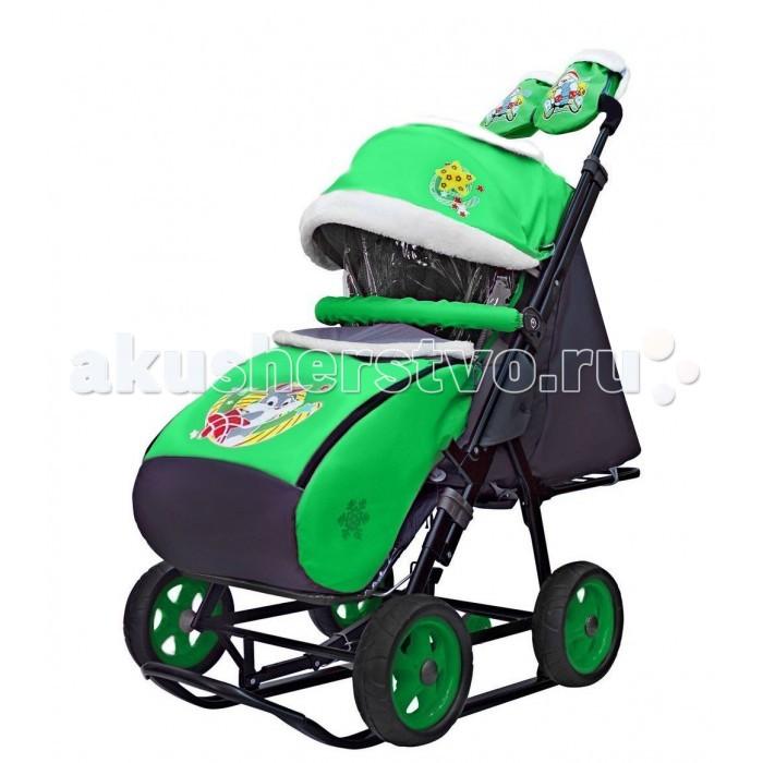Купить Санки-коляски, Санки-коляска Galaxy Snow City-1 Серый Зайка на больших колёсах