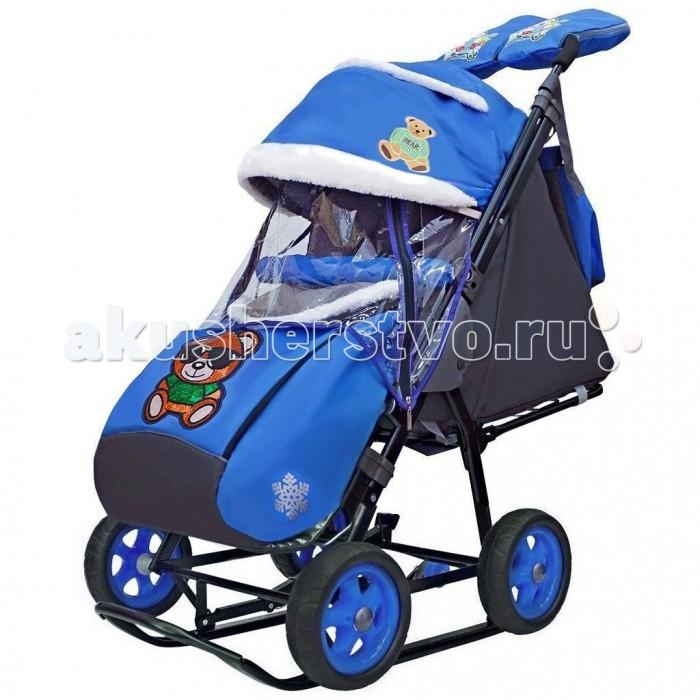 Купить Санки-коляски, Санки-коляска Galaxy Snow City-1 Зелёный Мишка на больших колесах