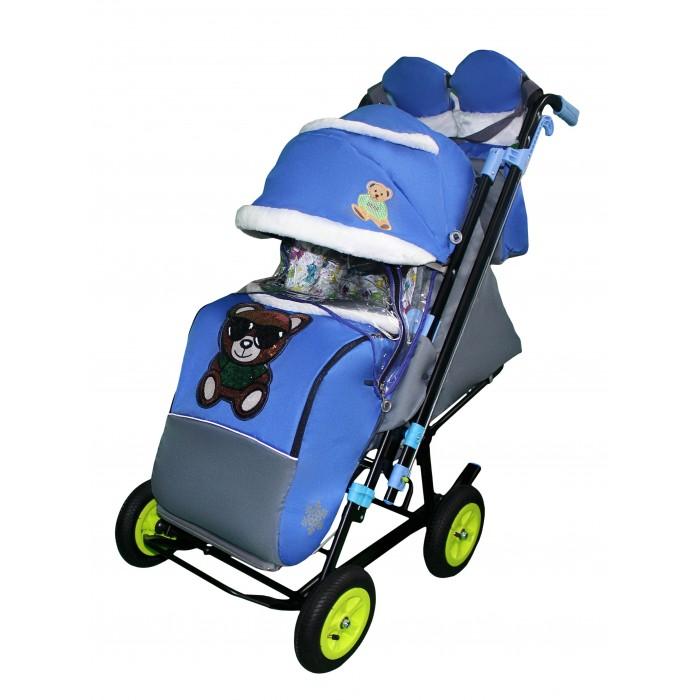 Санки-коляска Galaxy Snow City-2-1 Мишка на больших надувных колёсах