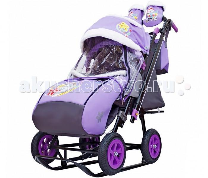Санки-коляска Galaxy Snow City-2-1 Серый Зайка колеса надувные