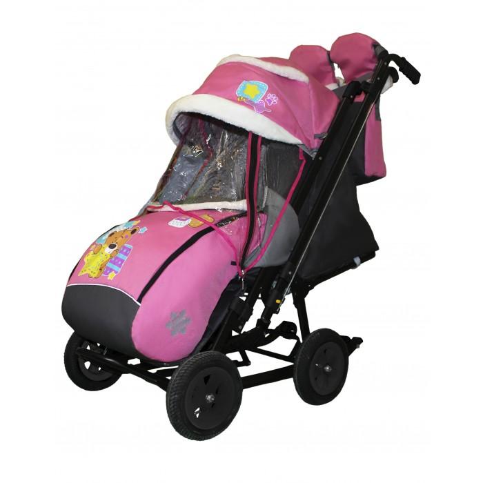 Санки-коляска Galaxy Snow City-2-1 Мишка со звездой на больших надувных колёсах