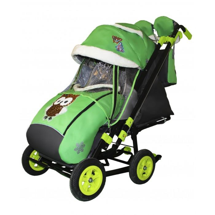 Купить Санки-коляски, Санки-коляска Galaxy Snow City-2-1 Совушки на больших надувных колёсах