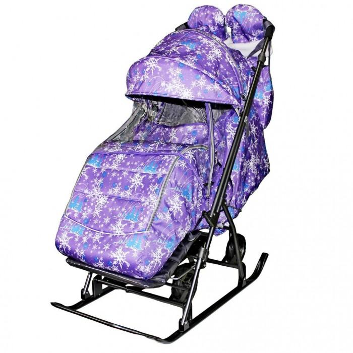 Санки-коляска Galaxy Snow Kids-3-1 Ёлки на больших колесах