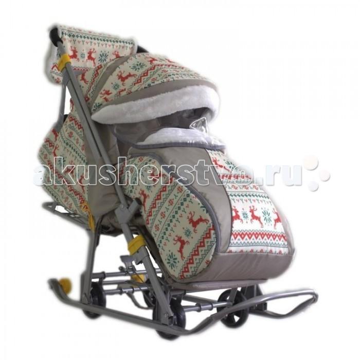 Санки-коляска Galaxy Детям-1Санки-коляски<br>Galaxy Baby Санки-коляска Детям-1 - это отличный выход для родителей, ценящих комфорт и удобство.  Широкие полозья позволяют санкам плавно скользить по снегу, а для передвижения по бесснежным участкам можно воспользоваться колесами Перекидная ручка позволит везти ребенка как лицом к себе, так и спиной Большой удобный чехол для ножек, который застегивается на молнию с двух сторон, не даст малышу замерзнуть, а капюшон убережет его от ветра и осадков Спинка санок регулируется в трех положениях, угол наклона в сидячем положении составляет девяносто градусов Производитель этих санок с колесами позаботился и о маме, включив в комплект теплую муфту и сумку, в которую можно сложить все необходимые на прогулке аксессуары.  Возраст: от 6 месяцев Комплект: санки-коляска, сумка, муфта, чехол для ног Допустимый вес эксплуатации: 50 кг Ширина полозьев: 4 см Вес: 15 кг