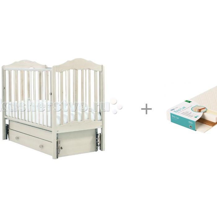 Детские кроватки Гандылян Анастасия универсальный маятник и матрас EcoLat Плитекс 119х60х12