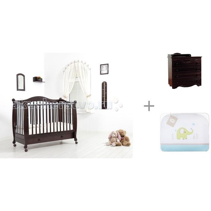 Детская кроватка Гандылян Моника + комод Сильвия + комплект в кроватку Джунгли