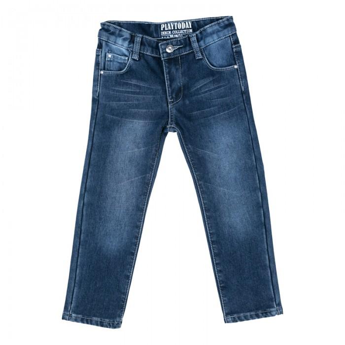 Брюки, джинсы и штанишки Playtoday Брюки текстильные джинсовые для девочек Осеннее настроение 372061