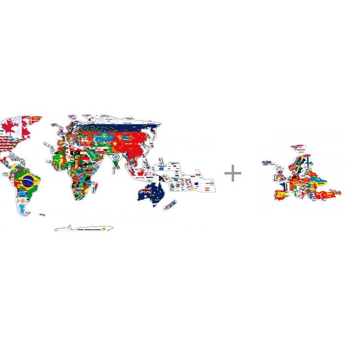 Геомагнит Магнитный пазл Мир + Магнитный пазл Европа