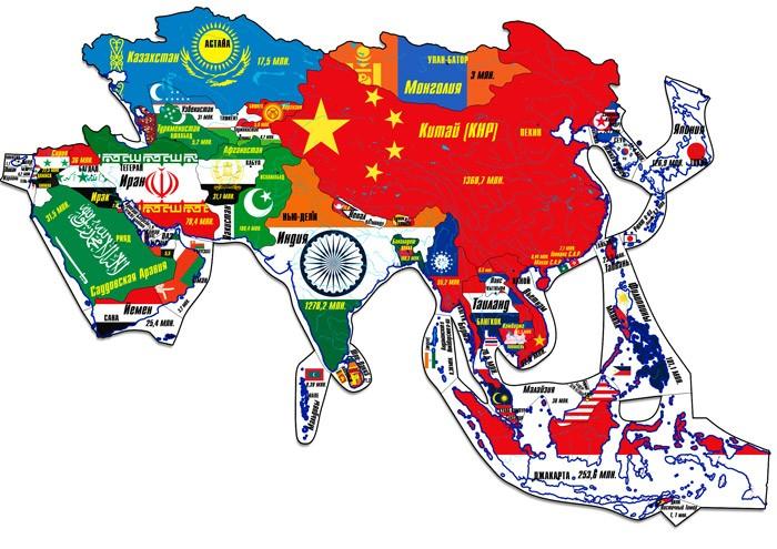Атласы и карты Геомагнит Магнитный пазл Азия 44 элемента пазлы геомагнит магнитный пазл дроби в коробке