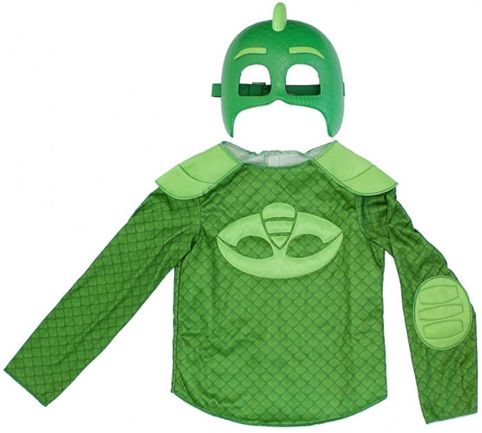 Герои в масках (PJ Masks) Игровой набор Гекко (маска и кофта)Игровой набор Гекко (маска и кофта)Герои в масках (PJ Masks) Игровой набор Гекко (маска и кофта) превратите своего малыша в одного из отважных героев в масках - Гекко!   Сделать это просто - ребенку достаточно надеть карнавальный костюм, состоящий из маски и стильной кофточки из набора Гекко Герои в масках.  В наборе 2 предмета:  карнавальная маска (19 х 15 см)  кофта с изображением амулета героя Размер кофты: 32 Длина (по спинке): 35 см Длина рукава: 42 см Рост ребенка: 116 - 121 см Маска изготовлена из прочной пластмассы, кофта - из полиэстера.  Возможна ручная стирка при температуре 30 °С.<br>