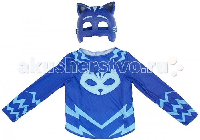 Герои в масках (PJ Masks) Игровой набор Кэтбой (маска и кофта)Игровой набор Кэтбой (маска и кофта)Герои в масках (PJ Masks) Игровой набор Кэтбой (маска и кофта) превратите своего малыша в одного из отважных героев в масках - Кэтбой   Сделать это просто - ребенку достаточно надеть карнавальный костюм, состоящий из маски и стильной кофточки из набора Кэтбой Герои в масках.  В наборе 2 предмета:  карнавальная маска (19 х 15 см)  кофта с изображением амулета героя Размер кофты: 32 Длина (по спинке): 35 см Длина рукава: 42 см Рост ребенка: 116 - 121 см Маска изготовлена из прочной пластмассы, кофта - из полиэстера.  Возможна ручная стирка при температуре 30 °С.<br>