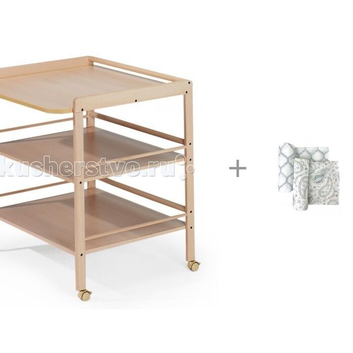 Пеленальный столик Geuther Clara и муслиновая пеленка Mom'Story Design Пэйсли