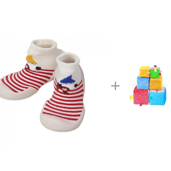 Купить Домашняя обувь, Ggomoosin Ботиночки-носочки Elf с развивающая игрушкой Мякиши Умные кубики 6 шт.