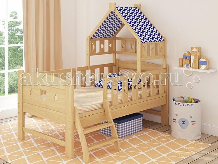 Подростковая кровать Giovanni Dommy 150х80 смDommy 150х80 смДетская кровать Giovanni Dommy 150х80 см Домик – в Дом! Уютный, волшебный, компактный, безопасный – собственный уголок для малышей.   Веселая детская кровать для подросшего ребёнка от 2 до 7 лет поможет плавно перейти от сна в кроватке для новорожденного к взрослой кровати. Защитные бортики со всех сторон уберегут ребенка от падения с кровати во время сна. Прочная устойчивая конструкция с реечным основанием выполнена из массива экологически чистой новозеландской сосны.    Особенности: Для матраса 150 х 80 см  Предназначена для подросшего ребёнка от 3 до 7 лет  Идеально вписывается в интерьер современной детской комнаты  Защитные бортики со всех сторон  Лесенку можно устанавливать с обеих сторон кровати Яркая съемная крыша из ткани Можно использовать в приставном варианте к взрослой кровати Габаритные размеры(дхшхв) 156 х 150 х 86 см    Материал Массив новозеландской сосны, МДФ, ткань.<br>
