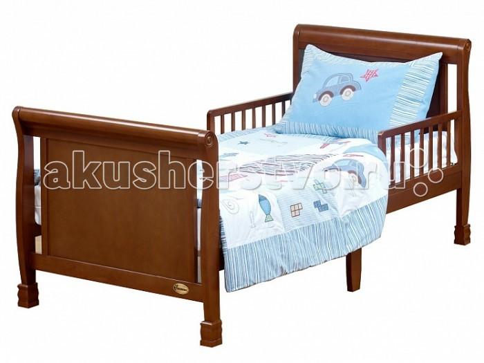 Детская кроватка Giovanni PrimaPrimaДетская кроватка Giovanni Prima для подросшего ребёнка от 2 лет до 10 лет поможет плавно перейти от сна в кроватке для новорожденного к взрослой кровати.   Изящная кровать с плавными линиями идеально впишется в любой интерьер детской комнаты, а резные ножки и элементы на спинках кровати подчеркнут неповторимый классический стиль и изысканность данной модели. Съемные защитные бортики с двух сторон уберегут ребенка от падения с кровати во время сна. Прочная устойчивая конструкция с реечным ортопедическим основанием выполнена из массива экологически чистой новозеландской сосны.   Древесина отличается эластичностью, отсутствием сучков, глубиной и красотой структуры дерева.   Особенности: Для матраса 160х80 см  Предназначена для подросшего ребёнка от 2 до 10 лет  Оптимальная высота от пола до основания – 40см - Идеально вписывается в интерьер современной детской комнаты - Защитные бортики (2 шт.) в комплекте Ложе кроватки реечное Материал – массив экологически чистой новозеландской сосны.  Древесина отличается эластичностью, отсутствием сучков, глубиной и красотой структуры дерева.  Габаритные размеры (B*Ш*Д) 85х85х174 см<br>