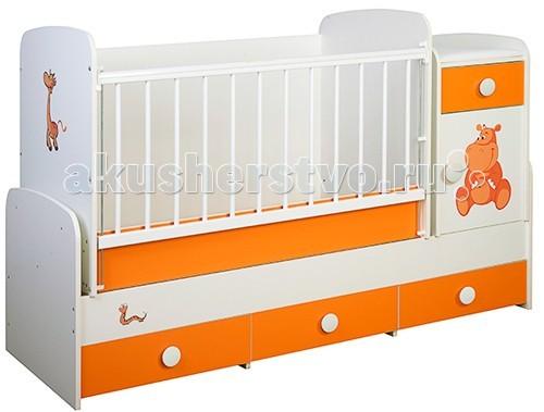 Кроватка-трансформер Glamvers Comfort цветная поперечный маятник