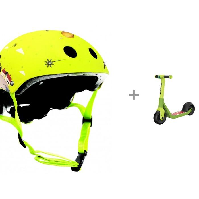 Globber Шлем Junior Printed и двухколесный самокат Razor Wild Ones