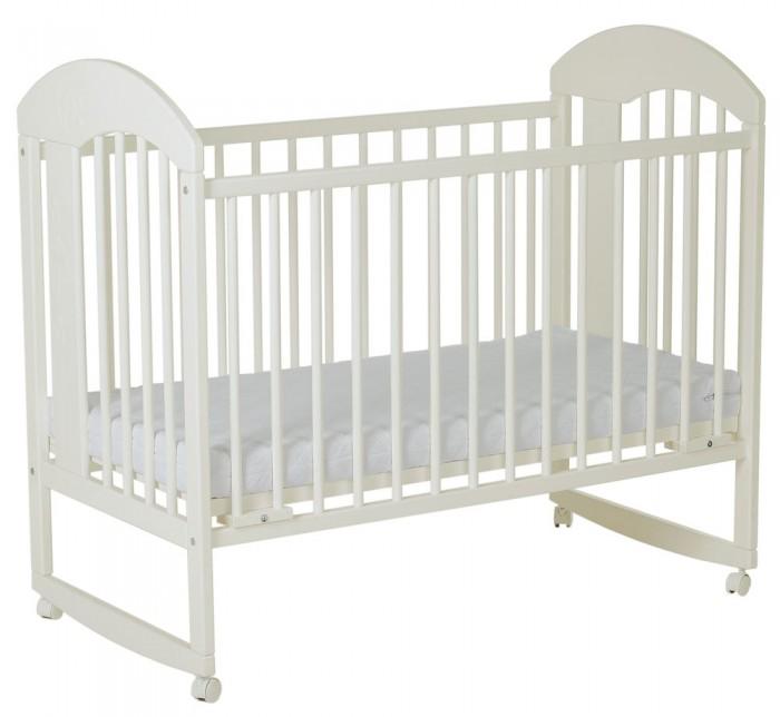 Детская кроватка Гном Луна качалкаДетские кроватки<br>Гном Кровать Луна качалка  Особенности: Кровать качалка, На колесах,  Фиксация подматрасника на любой высоте,  Два прутика решетчитой боковины подпружинины и вытаскиваются, Оформление Луна, Спальное место 119x60 см.