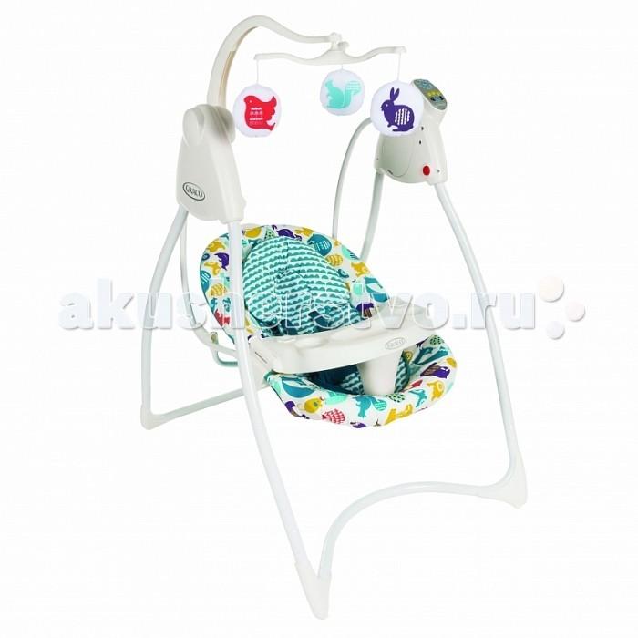 Электронные качели Graco Lovin HugLovin HugЭлектронные качели Graco Lovin Hug  Особенности:  рекомендовано для детей c рождения до 9 месяцев (весом до 10 кг)  легко и компактно складываются  очень удобное сиденье  дополнительная подкладка на сиденье  поддержка для головы  съемный подголовник съемный столик для того, чтобы малыш мог легко заходить/выходить из качелей (игрушек на подносе нет> - для всех расцветок)  игрушки на крутящейся вертушке над головой ребенка  6 скоростей качания  мягкая музыка с таймером  матрасик на сиденье, который можно стирать  Питание от 3-х батареек D-LR20 (1.5V) Внимание! В зимнее время перед использованием качели обязательно должны нагреться до комнатной температуры. Пожалуйста, подождите несколько часов, иначе есть возможность повредить электронный блок!  Цвет On the run не комплектуется подушкой.   Качели не комплектуются игрушками на столике!  ВНИМАНИЕ: действие дисконтных карт на качели Lovin Hug не распространяется!<br>