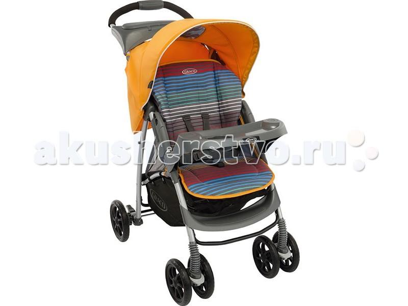 Прогулочная коляска Graco Mirage Plus W/parent Tray&amp;BootMirage Plus W/parent Tray&amp;BootПрогулочная коляска Graco Mirage Plus W/parent Tray&Boot со столешницей и накидкой для ножек комфортная для малыша и удобная в управлении для мамы. Легкая и маневренная прогулочная коляска Graco Mirage Plus проста в обращении, компактно складывается для транспортировки и хранения.  Комфорт и уют для малыша: простота маневрирования в ограниченном пространстве и узких проходах, благодаря передним поворотным колесам широкое регулируемое сидение с мягкими комфортными накладками 3 положения спинки обеспечивают малышу комфорт, когда он спит или сидит в сложенном состоянии стоит без опоры поднос для игр, также служит ограждением большая легкодоступная корзина комфортабельная подушка сиденья  автоматический замок фиксирует коляску в сложенном положении, упрощая ее транспортировку  сиденье снимается и стирается  во время прогулки мама имеет возможность наблюдать за ребёнком через солнцезащитное, затемнённое окошко, расположенное в верхней части капюшона  эргономичная ручка.  Надежность:  высококачественная прочная рама гарантирует комфорт и безопасность вашего малыша стальная рама  капюшон с верхним окошком для возможности наблюдения за малышом и хорошая защита от солнца (ткань прошла испытания на устойчивость к УФ-лучам 5-точечный ремень для надежного крепления ребенка  простая и практичная моментальная система складывания, позволяет вам сложить коляску одной рукой, удерживая ребенка.  Колеса: передние поворотные, с фиксаторами в переднем направлении задний ножной тормоз  поворотность колёс даёт возможность легко и плавно повернуть коляску в нужном направлении.   Особенности:  возможность установки автокресла Graco группы 0+ устанавливающаяся одним щелчком система путешествий Graco позволяет переносить ребенка из машины в коляску или домой не разбудив его размеры в разложенном виде ШхДхВ 49х93х103 см  с рождения до 15 кг ( до 3 лет)  Соответствие стандартам безопасности EN 1888:200