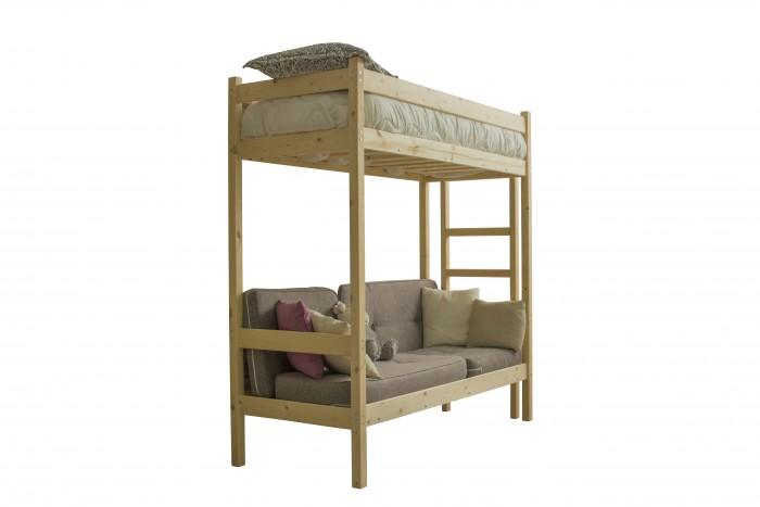 Кровати для подростков Green Mebel чердак с диваном из массива 70x190 см