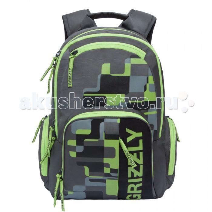 Grizzly Рюкзак RU-719-1Рюкзак RU-719-1Grizzly Рюкзак RU-719-1 выполнен из очень легкой, эластичной ткани высокой прочности. Она устойчива к износу, хорошо стирается и быстро сохнет, сохраняя свою форму.  Особенности: рюкзак молодежный два отделения  объемный карман на молнии на передней стенке объемные боковые карманы на молнии внутренний карман на молнии внутренний карман-пенал для карандашей жесткая анатомическая спинка  карман быстрого доступа в верхней части рюкзака карман быстрого доступа в передней части рюкзака дополнительная ручка-петля укрепленные лямки.<br>