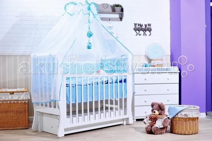 Комплект в кроватку GulSara 47 (7 предметов)47 (7 предметов)Комплект постельного белья 47 (7 предметов) включает все необходимые элементы для детской кроватки.  Кроватка Вашего малыша будет неотразимой и очень уютной. Ведь в комплект входит все необходимое для крепкого и безопасного сна малыша.  Комплект сшит из 100% натуральных материалов с соблюдением высоких стандартов качества. Ткань из 100% хлопка не только мягкая и шелковистая, но так же не электризуется, долговечная и легко стирается.   Характеристики:  Материал: бязь, вуаль. Отделка: рюши,  атласная лента. Наполнитель: синтепон (борта, подушка, одеяло).  Комплектность: комплект раздельных бортов 360х40х55 см подушка 40х60 см одеяло 110х140 см пододеяльник 110x140 см простынь 100x140 см наволочка 40x60 см балдахин 160х400 см<br>