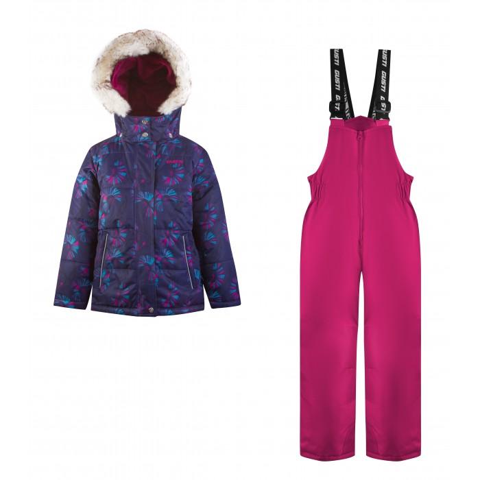 Gusti Комплект для девочки (куртка, полукомбинезон) GWG 6880Зимние комбинезоны и комплекты<br>Gusti Комплект для девочки (куртка, полукомбинезон) GWG 6880 состоит из куртки и полукомбинезона. В нем ребенку тепло и удобно независимо от того, какая температура на улице. Такая верхняя одежда – идеальный вариант для суровой зимы с сильными морозами.  Ткань верха куртки: Мембрана с коэффициентом водонепроницаемости 5000 мм и коэффициентом паропроницаемости 5000 г/м2, одежда ветронепродуваемая. Благодаря тонкому полиуретановому напылению изнутри не промокает даже при сильной влаге, но при этом дышит (защита от влаги не препятствует циркуляции воздуха). Плотность ткани Т190 обеспечивает высокую износостойкость. Утеплитель: Тек-Полифилл (Tech-Polyfil) - 230г/м2, силиконизированый полиэстер изготовленный по новейшим технологиям,  удерживает тепло при температуре до -30 С. Очень мягкий , создающий объем для сохранения тепла, более плотный на груди и спине (230г/м2) и менее плотный на рукавах (170г/м2). Высокоэффективный, обладающий повышенной устойчивостью к сжатию (после стирки в стиральной машине изделие достаточно встряхнуть), обеспечивающий хорошую вентиляцию, обладающий прекрасным, теплоизолирующими свойствами синтетический материал. Главные преимущества Тек-Полифила – одежда более  пушистая на ощупь и менее тяжелое по весу.  Подкладка: Высокотехнологичный флис COOLQUICK. Специальное кручение нитей позволяет ткани максимально впитывать влагу и увеличивать испаряемость с поверхности, т.е. выпустить пар, но не пропускает влагу снаружи, что обеспечивает комфорт даже при высоких физических нагрузках. Этот материал ранее был разработан специально для спортсменов, которые испытывали сильные нагрузки во время активного движения, а теперь принес комфорт и тепло в нашу повседневную жизнь.  Это особенно важно для детей, когда они гуляют на свежем воздухе, чтобы тело всегда оставалось сухим и теплым. В этой одежде им будет тепло в течение длительного времени  и нет необходимости на