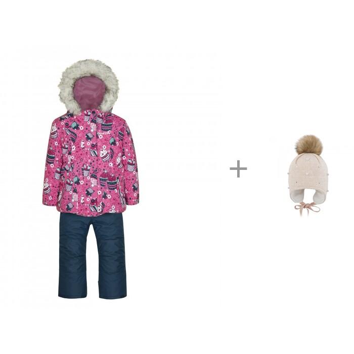 Gusti Комплект (куртка, полукомбинезон) GW20GS078 р.74,80,86 и шапка AC1071G для девочки