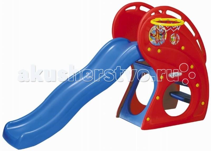 Горка Haenim Toy Дельфин с баскетбольным кольцомДельфин с баскетбольным кольцомДанный детский игровой комплекс предназначен для детей от 1 до 5 лет. Он очень многофункционален, компактен и безопасен. Это интересный и необходимый выбор для Вашего ребенка, как только он встал на собственные ножки.  Комплекс создан для физического развития малыша в ходе веселых игр. Он состоит из разнообразных, различной формы и разнообразных яркого цвета лазалок таких, как: качели, горки, площадка.  Ребенок надолго увлечется игрой за данным игровым комплексом. С этой горкой можно придумывать различные интересные игры для Вашего малыша:  попасть мячом в баскетбольное кольцо, забраться на горку и скатиться вниз!  скатиться вниз и сделать звонок маме или папе: Кто говорит Слон! Разрешите еще один старт Только если правильно набран номер! У телефона есть обучающий диск: ладони для счета по пальчикам вместо цифр.  Комплекс очень надежен и безопасен, выполнен из пластика, отвечающего высоким требованиям безопасности, а площадка перед спуском с горки оборудована ребристой поверхностью, чтобы маленькие ножки не скользили. Комплекс можно легко собрать как дома, так и во дворе.   Гладкое, единое полотно горки Волна,  Устойчивое основание - лазалка, с перилами для ступенек,  Шершавые безопасные ступеньки,  Ступеньки - прорези Альпинист,  Баскетбольное кольцо.  Характеристики:  Размер игровой зоны: 197х86х132 см.  Высота горки: 180 см.  Длина ската: 134см.  Диаметр кольца: 27 см.  Размер транспортировочной упаковки: 145х32х73 см<br>