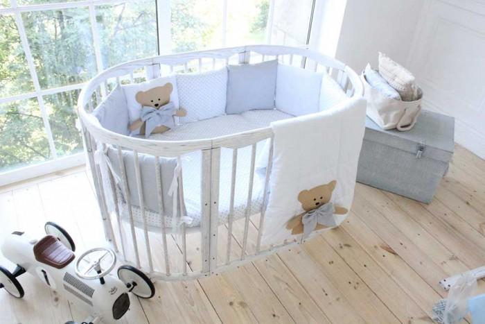 Комплекты в кроватку Happy Family Studio Добрые сны Мишка для круглой кроватки (7 предметов)