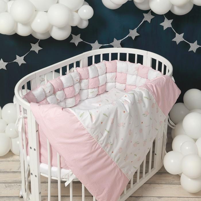 Комплект в кроватку Happy Family Studio Пуфборт Птенчик для круглой кроватки (7 предметов)