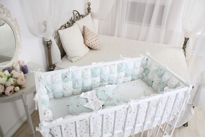 Комплект в кроватку Happy Family Studio Пуфборт В стране чудес для круглой кроватки (7 предметов)