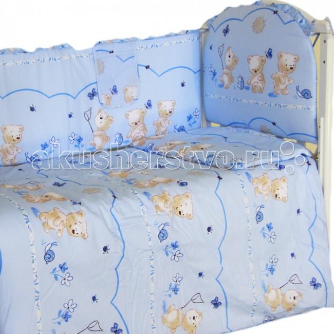 Комплект в кроватку Happy Dreams Медвежата (7 предметов)Медвежата (7 предметов)Красивый комплект в кроватку Happy Dreams Медвежата, выполненный из бязи. Симпатичные рисунки поднимут настроение и украсят любую кроватку. Насыщенные цвета не поблекнут даже после многочисленных стирок.   Характеристика: 100% хлопок (пакистанская бязь) Съемные борта на молнии Ткани собственного дизайна. Только натуральные ткани Борта плотностью 500 г На бортах комплекта по 6 завязок Наполнитель Холлофайбер; Холлкон с эвкалиптовым, бамбуковым и мятным волокном  В комплекте  простынь (100х150) наволочка (40х60) подушка (40х60) пододеяльник (110х145) одеяло (108х140) бампер (40х360) балдахин (150х40)<br>